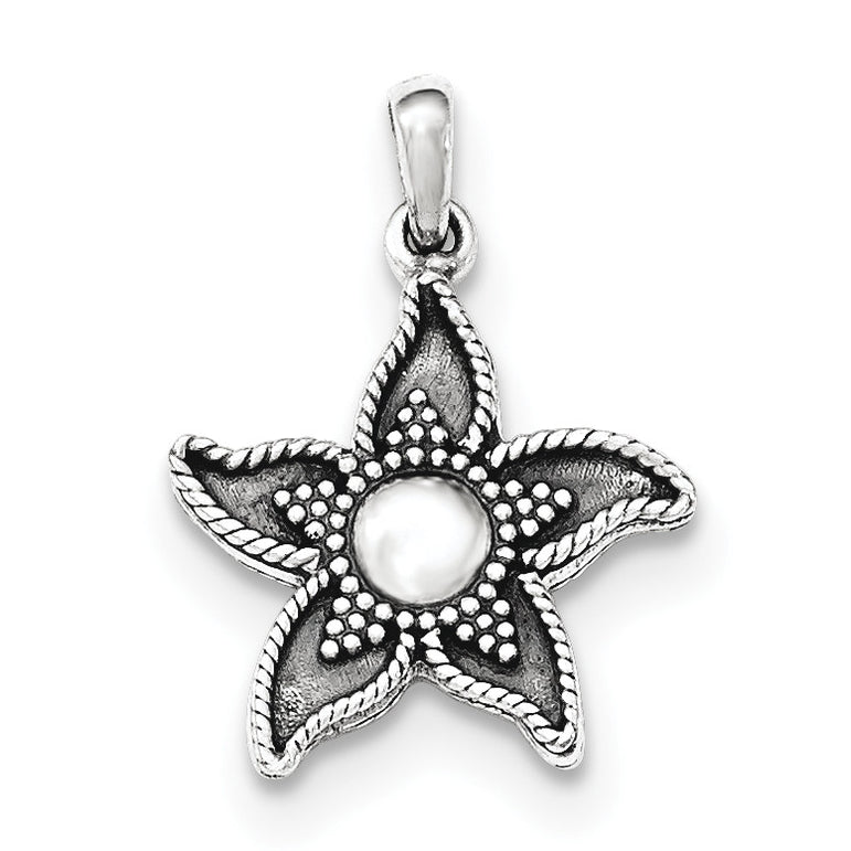 Sterling Silver Polished Antiqued Flower Pendant QC8918 - shirin-diamonds