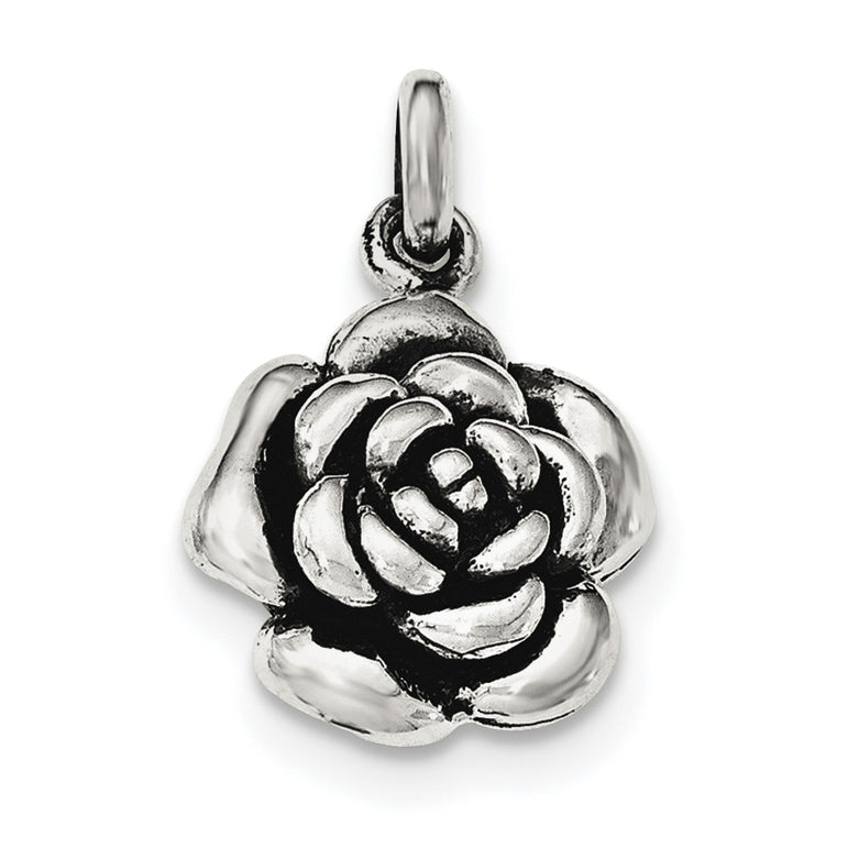 Sterling Silver Polished/Antiqued Rose Pendant QC8920 - shirin-diamonds