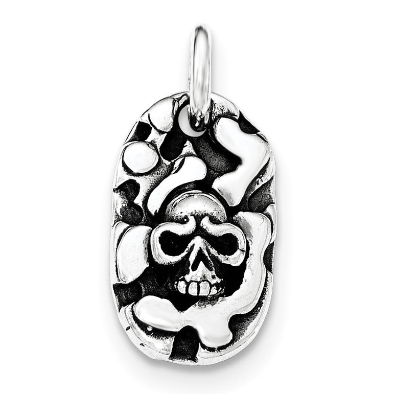 Sterling Silver Antiqued Skull Pendant QC8976 - shirin-diamonds