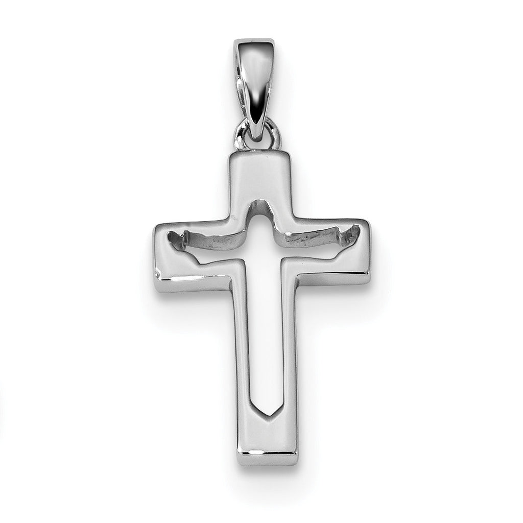 Sterling Silver Rhodium-plated Jesus Cut-out Cross Pendant QC9027 - shirin-diamonds