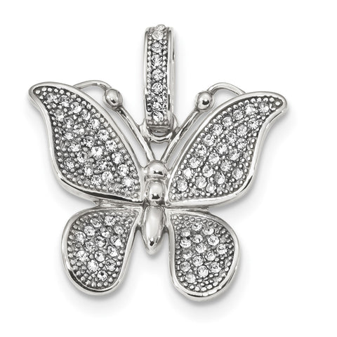 Sterling Silver Polished Swarovski Crystal Butterfly Pendant QC9231 - shirin-diamonds