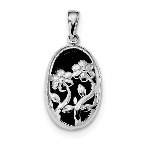 Sterling Silver Rhodium-plated Polished Oval Onyx Flower Pendant QC9323 - shirin-diamonds