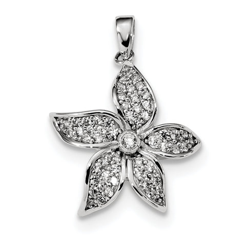 Sterling Silver Rhodium-plated CZ Flower Pendant QC9324 - shirin-diamonds