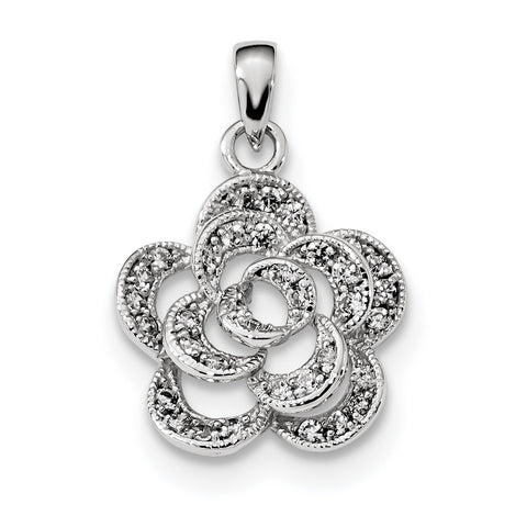 Sterling Silver Rhodium-plated CZ Flower Pendant QC9325 - shirin-diamonds