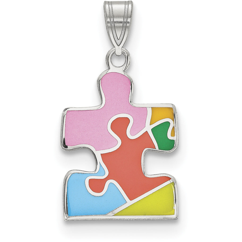 Sterling Silver Rhod-plated Enameled Autism Puzzle Piece Pendant QC9337 - shirin-diamonds