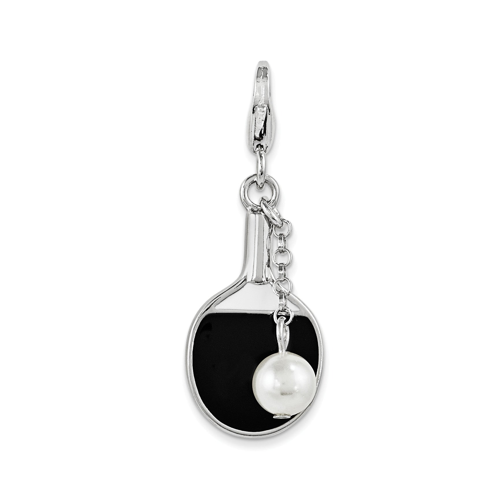 SterlingSilver Enamel Simulated Pearl Paddle w/Lobster Clasp Charm QCC1011 - shirin-diamonds