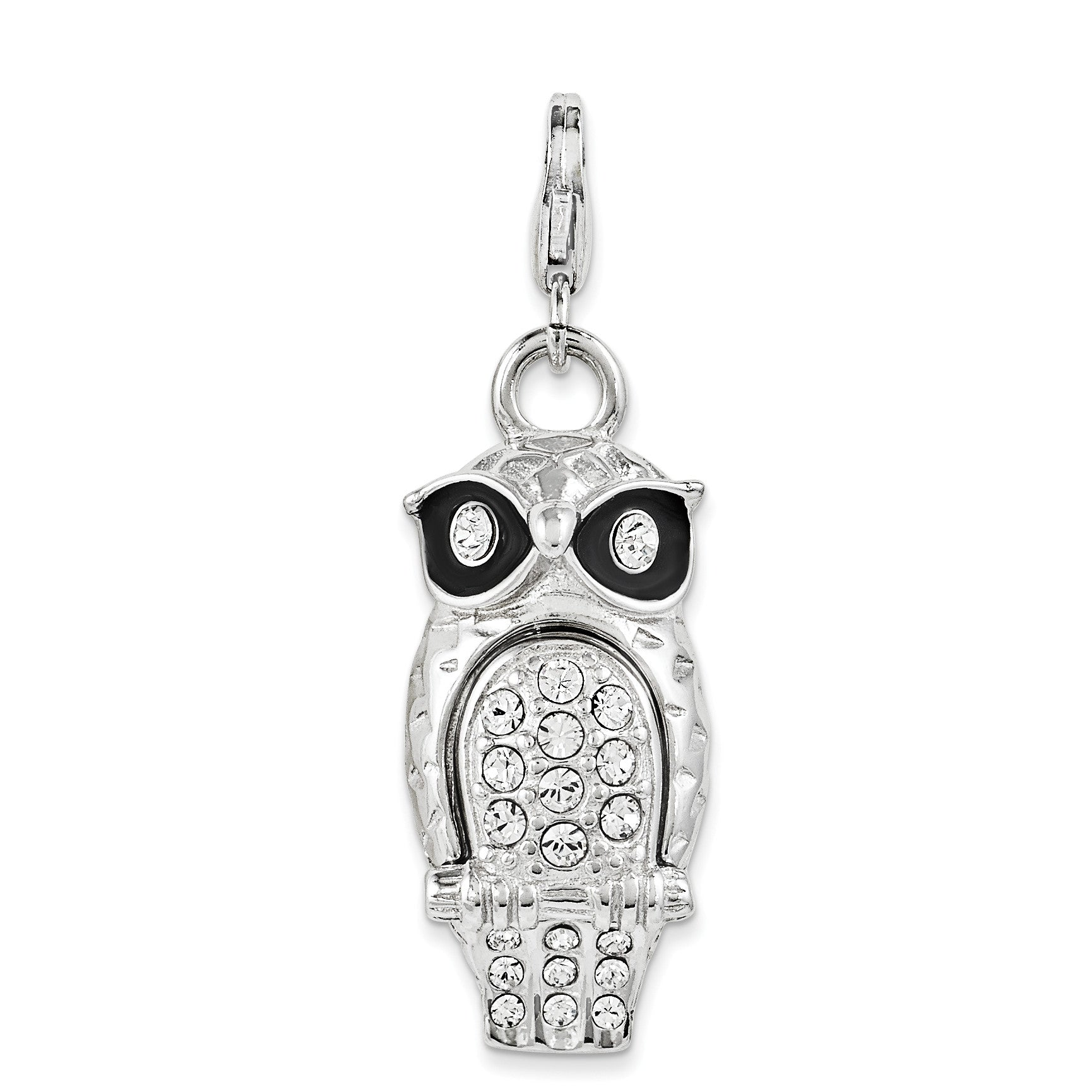 SterlingSilver Enamel Swarovski Element Owl w/Lobster Clasp Charm QCC1012 - shirin-diamonds