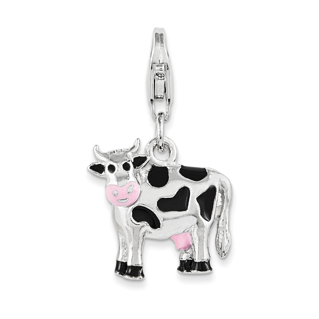 Sterling Silver Polished and Enameled 3D Cow Charm QCC1030 - shirin-diamonds
