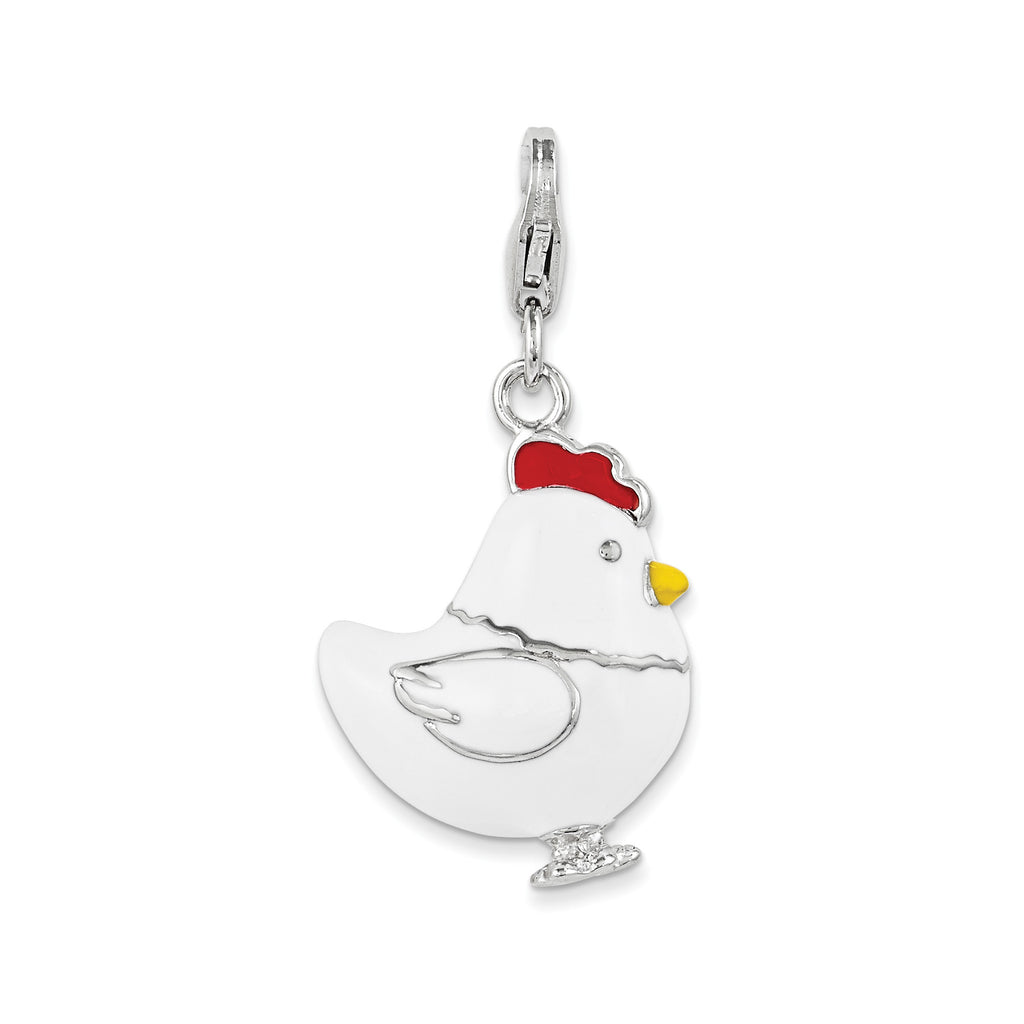 Sterling Silver and Enamel Chicken w/ Lobster Clasp Charm QCC1034 - shirin-diamonds