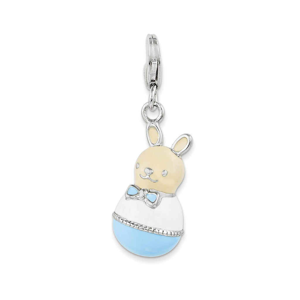 Sterling Silver Enameled Bunny w/Lobster Clasp Charm QCC1045 - shirin-diamonds