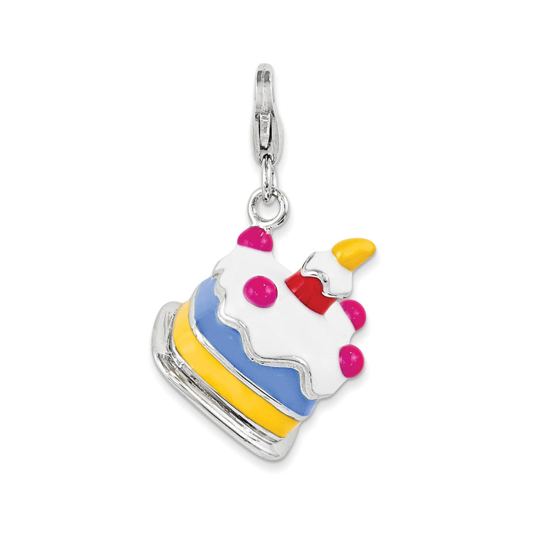 Sterling Silver 3-D Enameled Cake w/Lobster Clasp Charm QCC1053 - shirin-diamonds