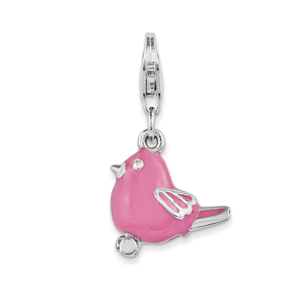 Sterling Silver And Pink Enameled Bird Charm QCC1078 - shirin-diamonds