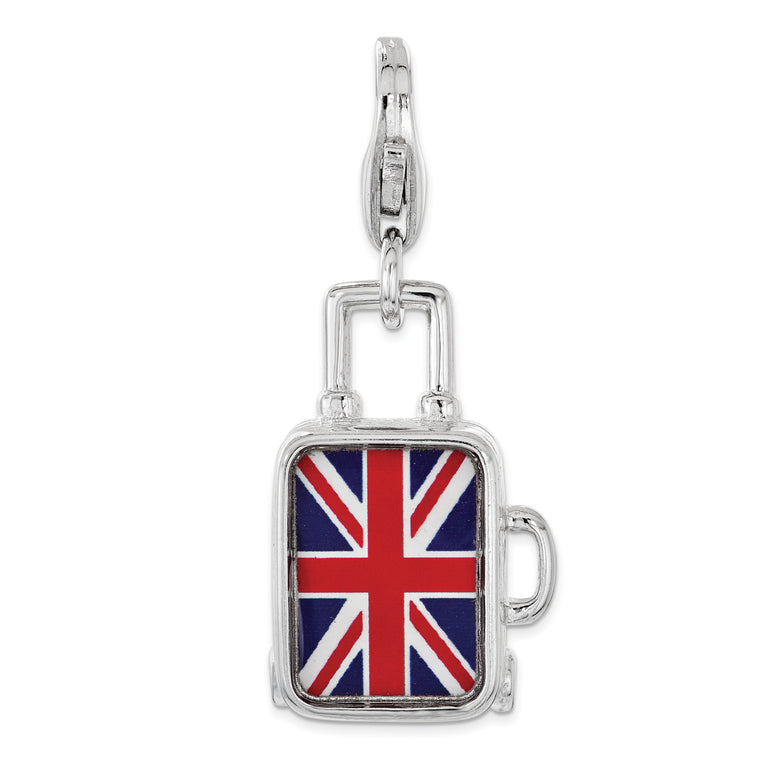 Sterling Silver Enameled British Flag Suitcase Lobster Clasp Charm QCC1196 - shirin-diamonds