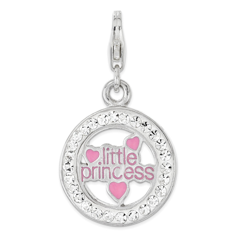 Sterling Silver Enameled w/Crystal Little Princess Lobster Clasp Charm QCC1228 - shirin-diamonds
