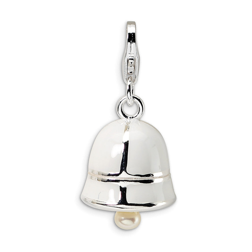 Sterling Silver FW Cultured Pearl White Enamel Bell w/Lobster Clasp Charm QCC155 - shirin-diamonds