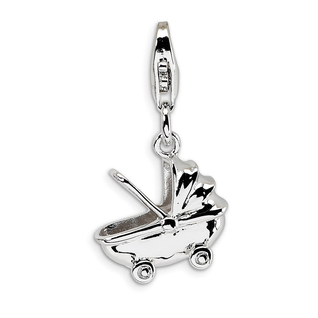 Sterling Silver Baby Carriage w/Lobster Clasp Charm QCC168 - shirin-diamonds