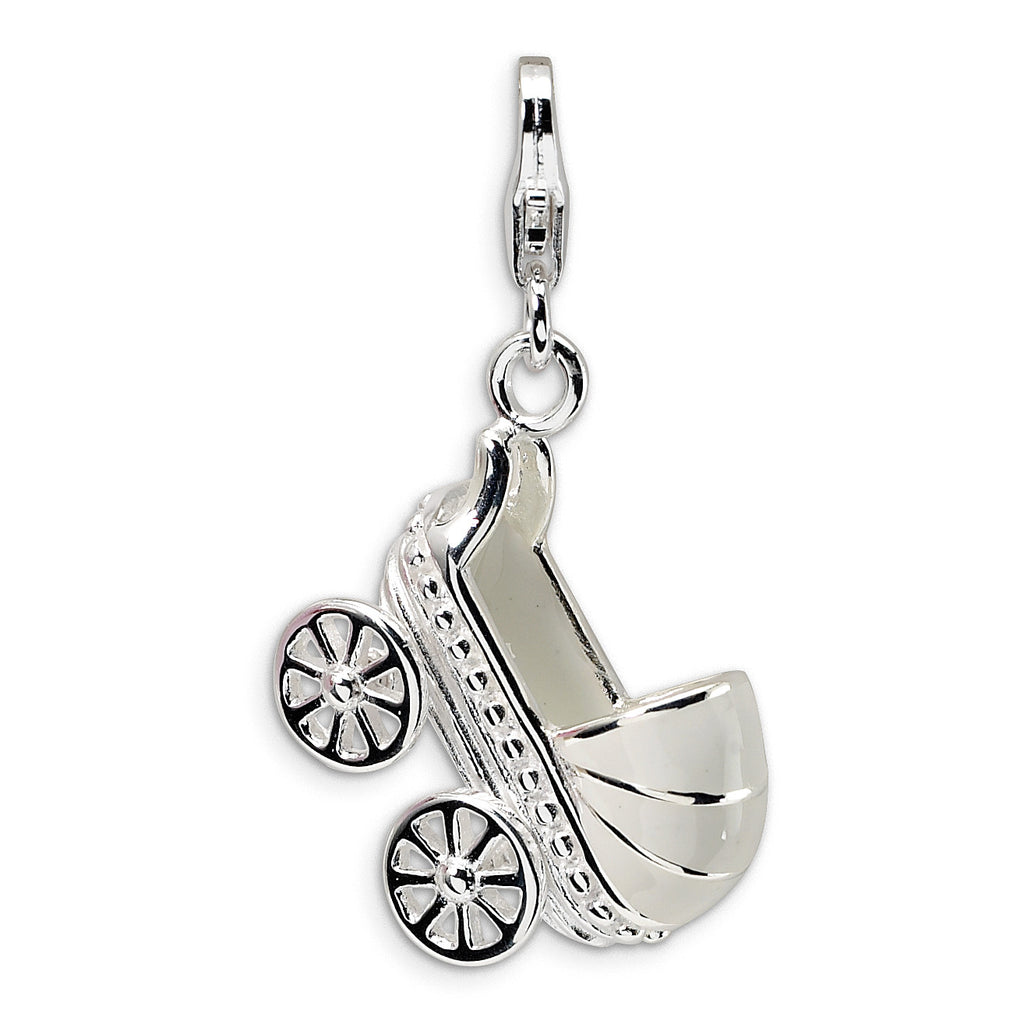 Sterling Silver 3-D Enameled Baby Carriage w/Lobster Clasp Charm QCC173 - shirin-diamonds