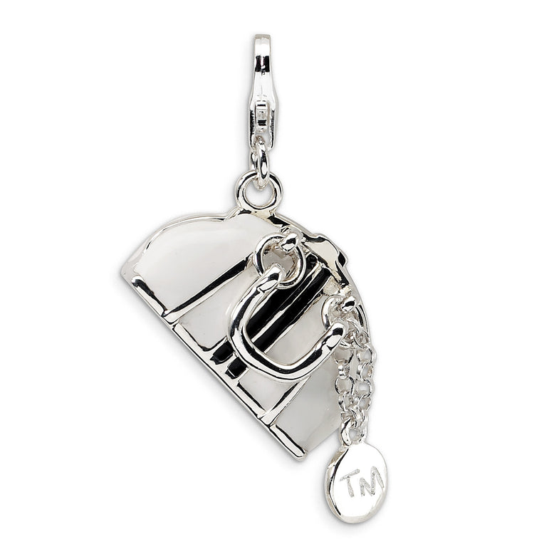Sterling Silver 3-D Enameled Purse w/Lobster Clasp Charm QCC223 - shirin-diamonds