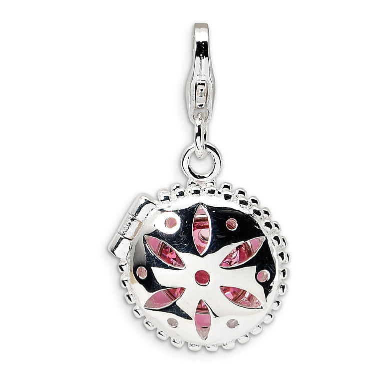 Sterling Silver Swarovski Element/Enamel Compact w/Lobster Clasp Charm QCC250 - shirin-diamonds