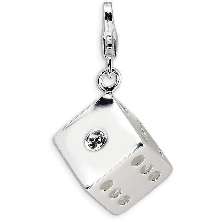 Sterling Silver 3-D Swarovski Element Die w/Lobster Clasp Charm QCC329 - shirin-diamonds
