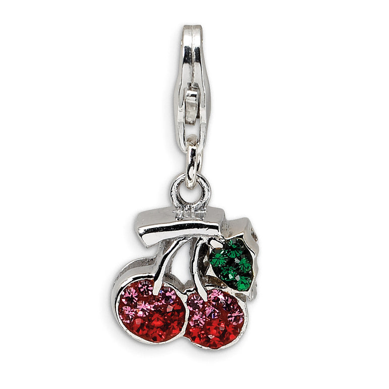 Sterling Silver Swarovski Element Cherries w/Lobster Clasp Charm QCC350 - shirin-diamonds