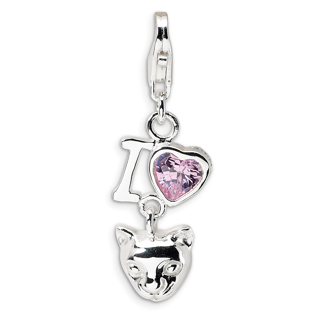 Sterling Silver CZ I Love Cats w/Lobster Clasp Charm QCC386 - shirin-diamonds