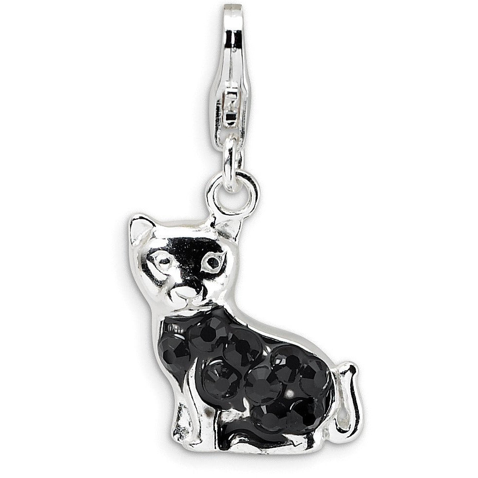 Sterling Silver Enameled Crystal Cat w/Lobster Clasp Charm QCC388 - shirin-diamonds