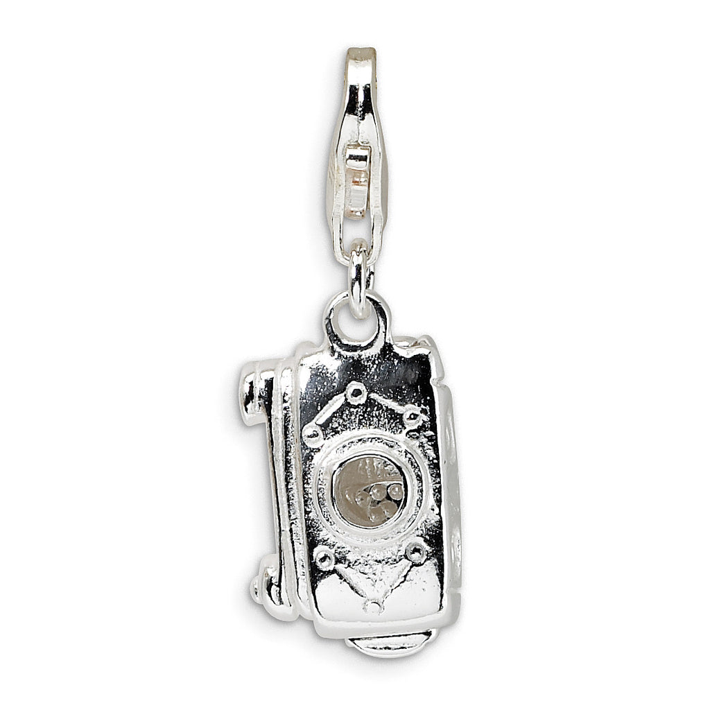 Sterling Silver 3-D Polished Movable Camera w/Lobster Clasp Charm QCC435 - shirin-diamonds