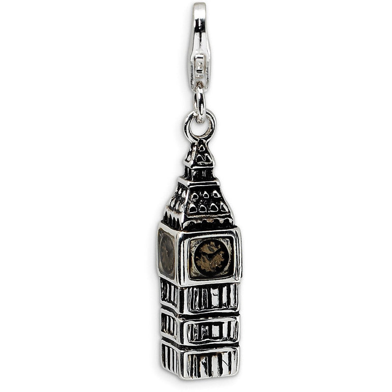Sterling Silver 3-D Antiqued Big Ben w/Lobster Clasp Charm QCC446 - shirin-diamonds