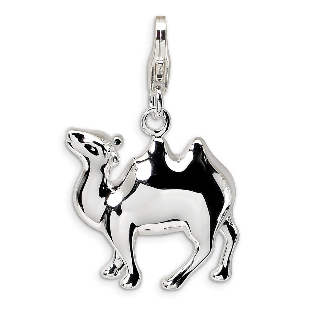 Sterling Silver 3-D Camel w/Lobster Clasp Charm QCC452 - shirin-diamonds