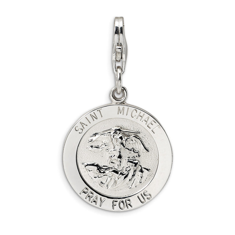 Sterling Silver Saint Michael Medal w/Lobster Clasp Charm QCC501 - shirin-diamonds
