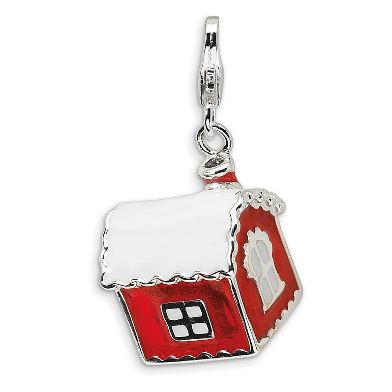 Sterling Silver 3-D Enameled House with Snow on Roof w/Lobster Clasp Charm QCC539 - shirin-diamonds