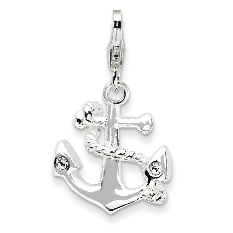 Sterling Silver 3-D Enameled Anchorw/Lobster Clasp Charm QCC547 - shirin-diamonds
