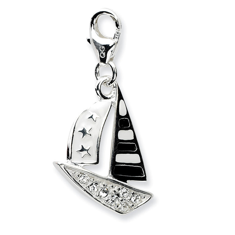 Sterling Silver 3-D Enameled Sailboatw/Lobster Clasp Charm QCC548 - shirin-diamonds