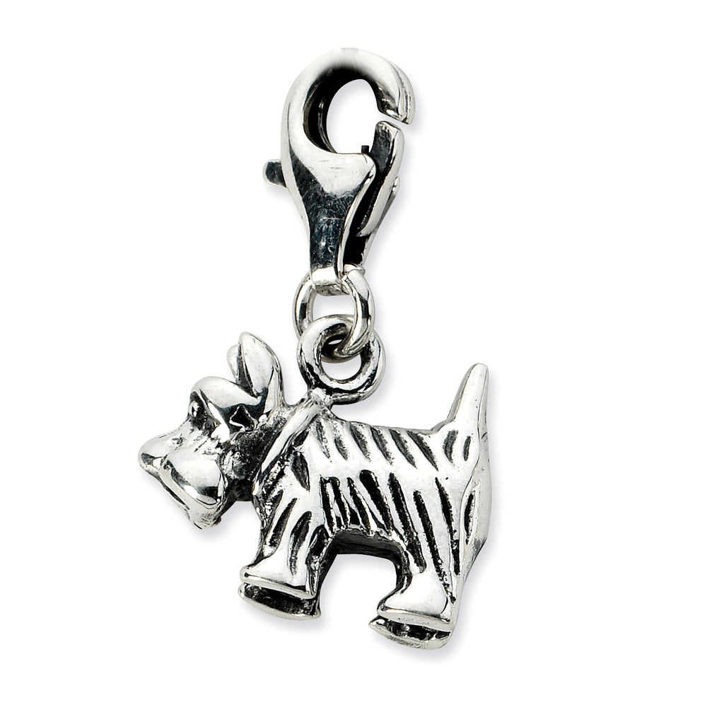 Sterling Silver 3-D Antiqued Scottie Dog w/Lobster Clasp Charm QCC680 - shirin-diamonds
