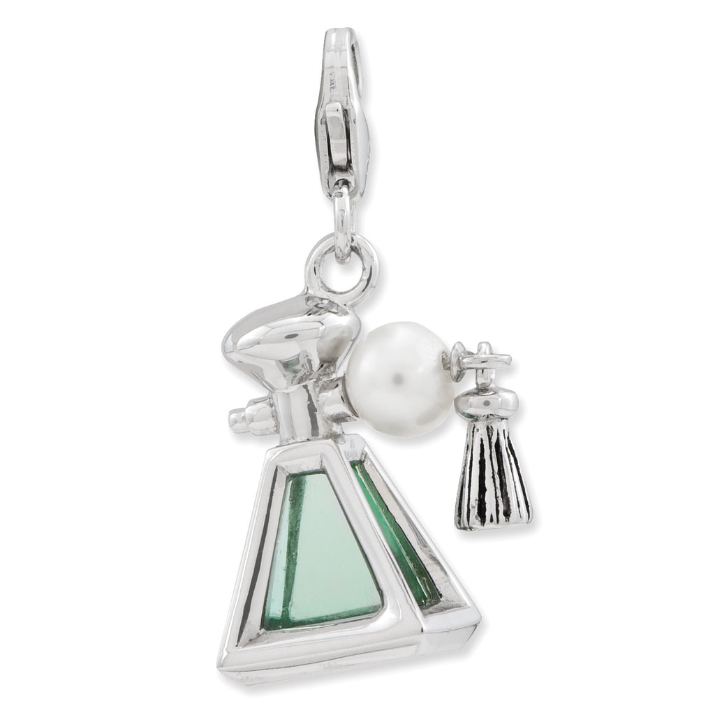 Sterling Silver 3-D Perfume FW Cultured Pearl Bottle w/Lobster Clasp Charm QCC761 - shirin-diamonds
