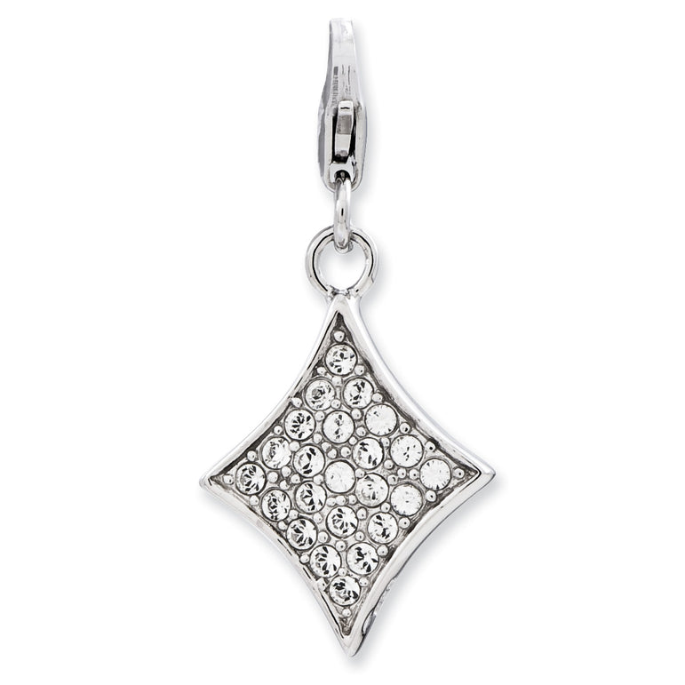 Sterling Silver Enameled 3-D Diamond w/Lobster Clasp Charm QCC785 - shirin-diamonds