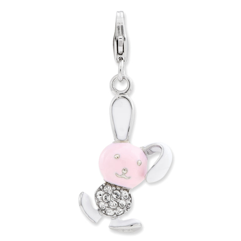Sterling Silver Enameled 3-D Bunny w/Lobster Clasp Charm QCC793 - shirin-diamonds