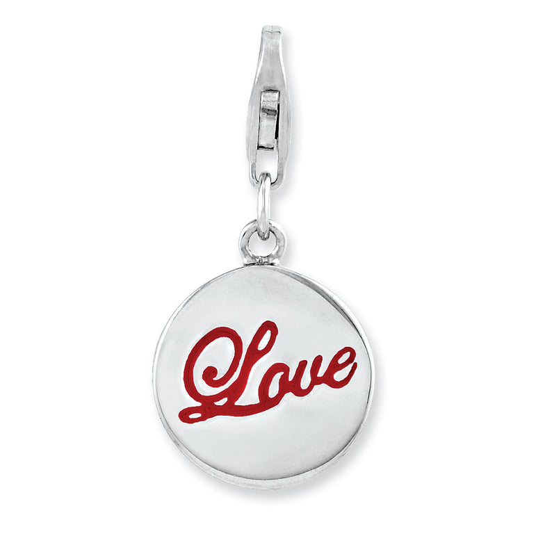 Sterling Silver Rhodium plated Enameled Love w/Lobster Clasp Charm QCC919 - shirin-diamonds