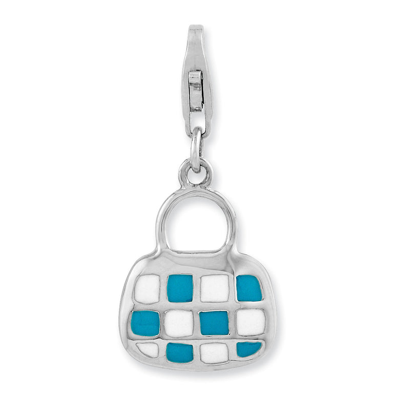 Sterling Silver Rhodium-plated 3-D Enameled Purse w/Lobster Clasp Charm QCC933 - shirin-diamonds