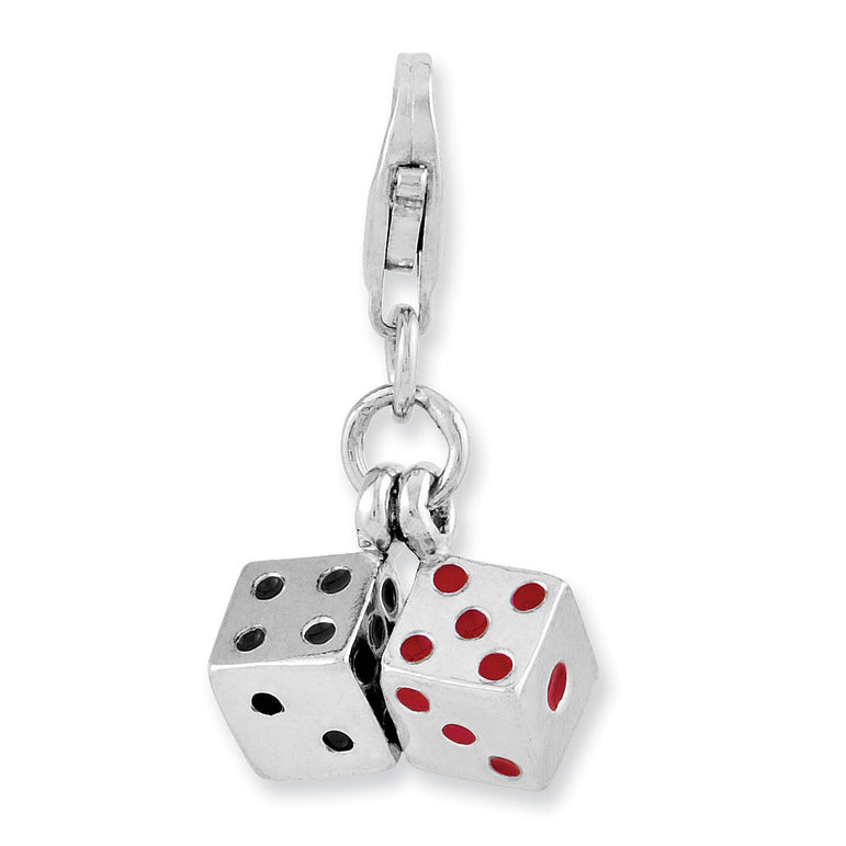 Sterling Silver Rhodium-plated 3-D Enameled Pair of Dice w/Lobster Clasp Ch QCC954 - shirin-diamonds