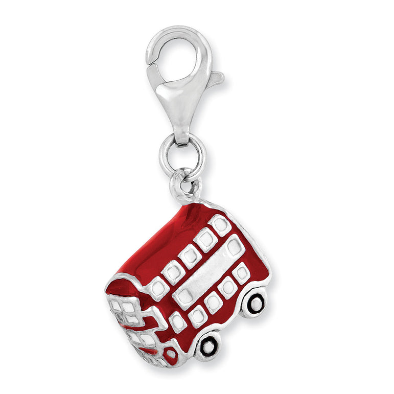 Sterling Silver Rhodium-plated 3-D Enameled Double Deck Bus w/Lobster Clasp QCC962 - shirin-diamonds