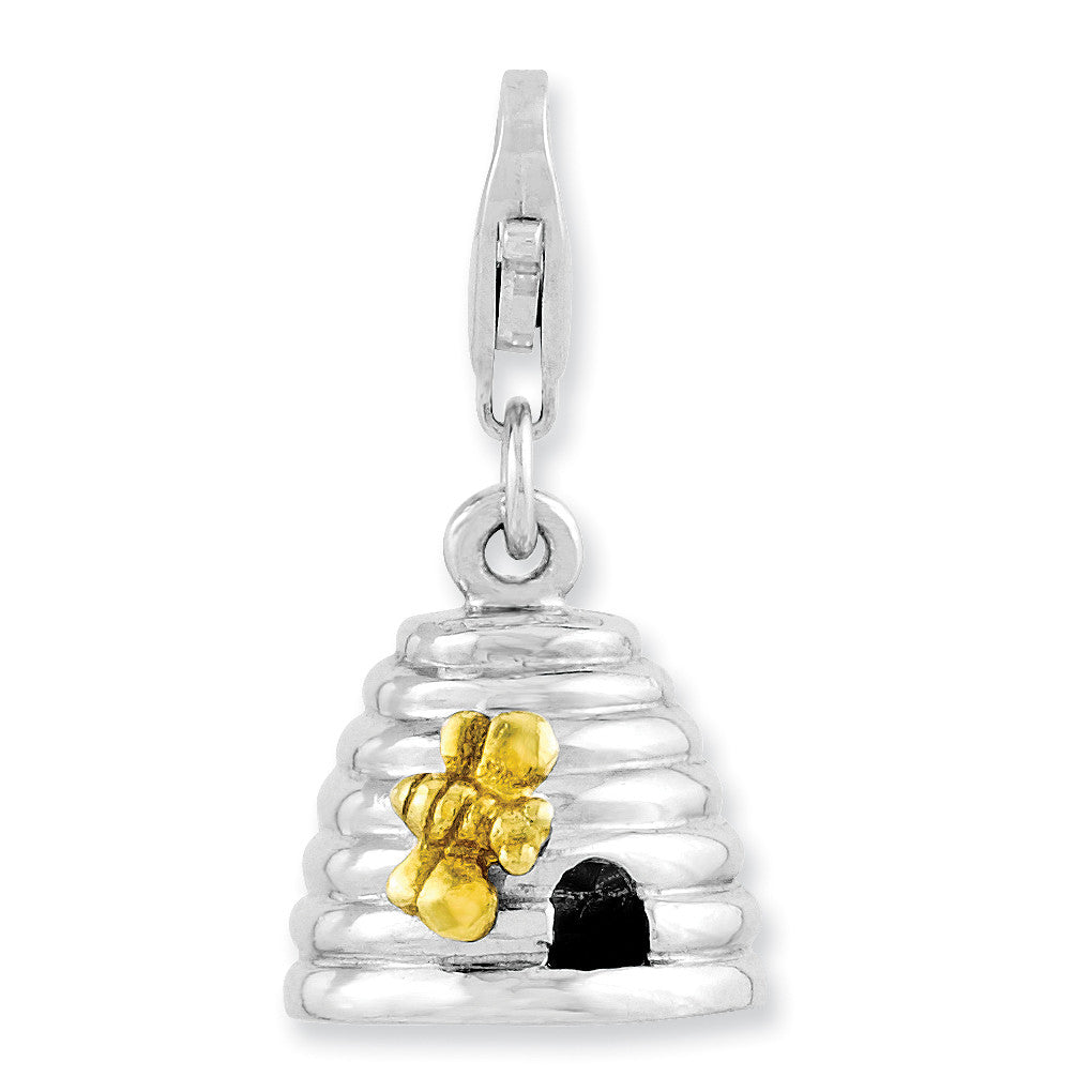 Sterling Silver Rhodium-plated & Gold Plated 3-D Beehive w/Lobster Clasp Ch QCC978 - shirin-diamonds