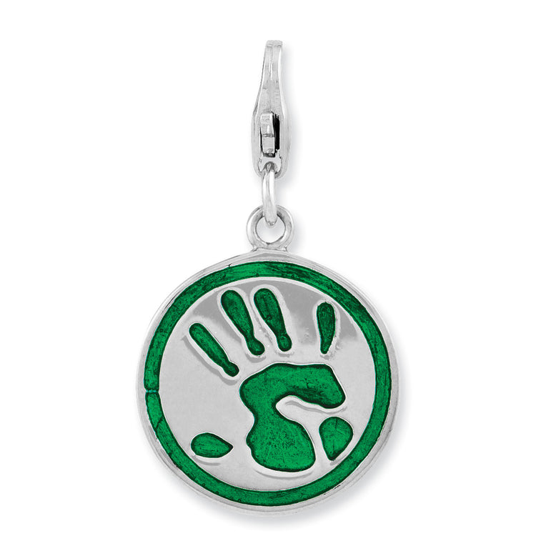 Sterling Silver Rhodium Plated 3-D Enameled Go Green w/Lobster Clasp Charm QCC986 - shirin-diamonds