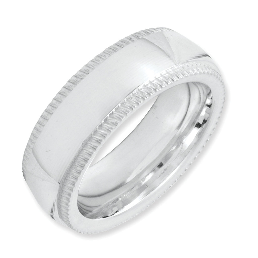 Sterling Silver 6mm Milgrain Comfort Fit Band QCFM060