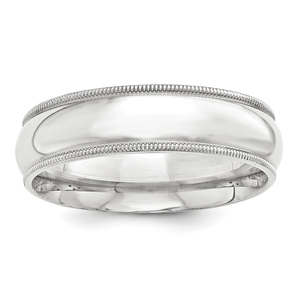 Sterling Silver 8mm Milgrain Comfort Fit Band QCFM080 - shirin-diamonds