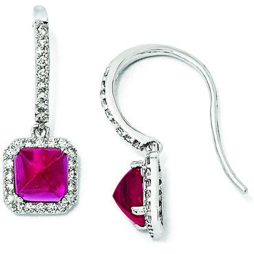 Sterling Silver Synthetic Ruby & CZ French Wire Earrings QCM1022 - shirin-diamonds