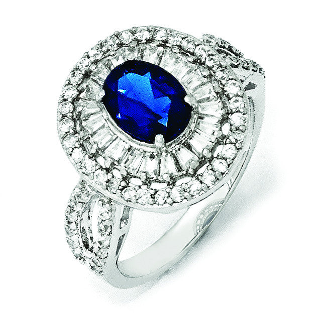 Sterling Silver CZ & Synthetic Dark Blue Spinel Ring QCM790 - shirin-diamonds