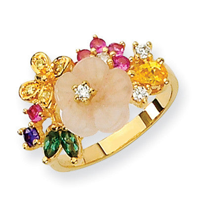 Sterling Silver CZ Gold-Plated Flower Ring QCM819