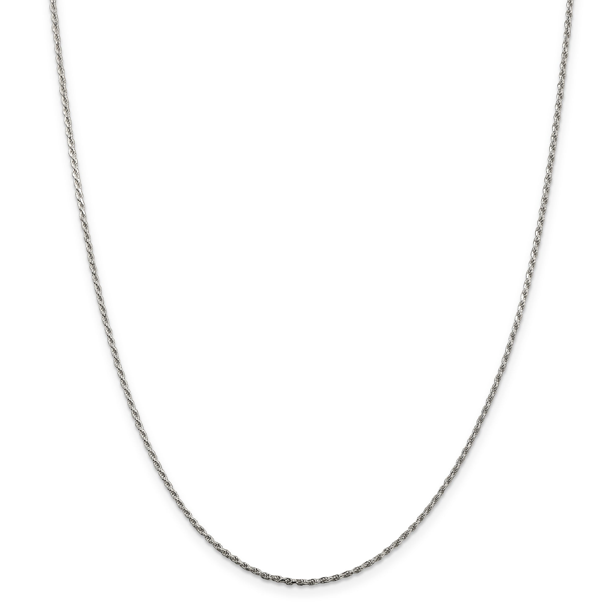 SS Rhodium Plated 1.5mm Diamond-cut Rope Chain QDC020R - shirin-diamonds